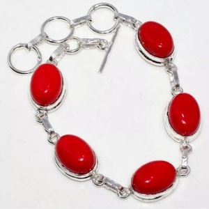 Jewelry - Red Coral 925 Sterling Silver Bracelet